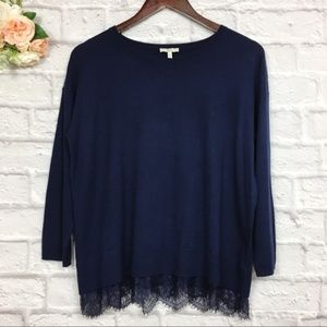 Joie wool and cashmere sweater with lace trim M